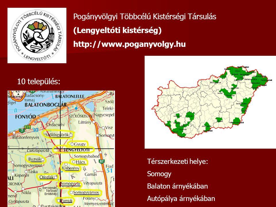 Pogányvölgyi Többcélú Kistérségi Társulás (Lengyeltóti kistérség) http://www.poganyvolgy.hu 10 település: Térszerkezeti helye: Somogy Balaton árnyékában Autópálya árnyékában