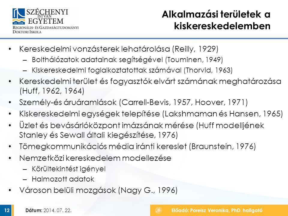 Kereskedelmi vonzásterek lehatárolása (Reilly, 1929) – Bolthálózatok adatainak segítségével (Touminen, 1949) – Kiskereskedelmi foglalkoztatottak számá