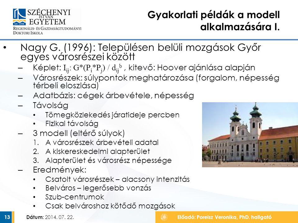Nagy G. (1996): Településen belüli mozgások Győr egyes városrészei között – Képlet: I ij : G*(P i *P j ) / d ij b, kitevő: Hoover ajánlása alapján – V