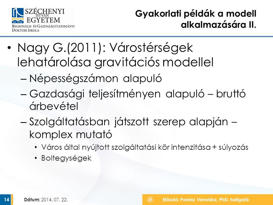 Nagy G.(2011): Várostérségek lehatárolása gravitációs modellel – Népességszámon alapuló – Gazdasági teljesítményen alapuló – bruttó árbevétel – Szolgá