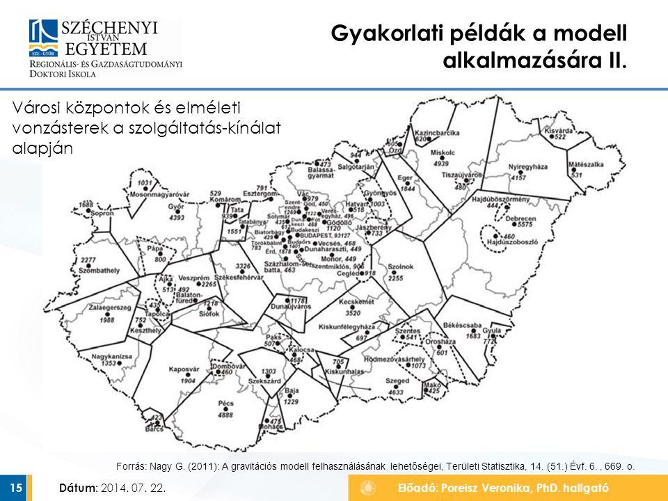 Gyakorlati példák a modell alkalmazására II. Dátum: 2014. 07. 22.Előadó: Poreisz Veronika, PhD. hallgató15 Forrás: Nagy G. (2011): A gravitációs model