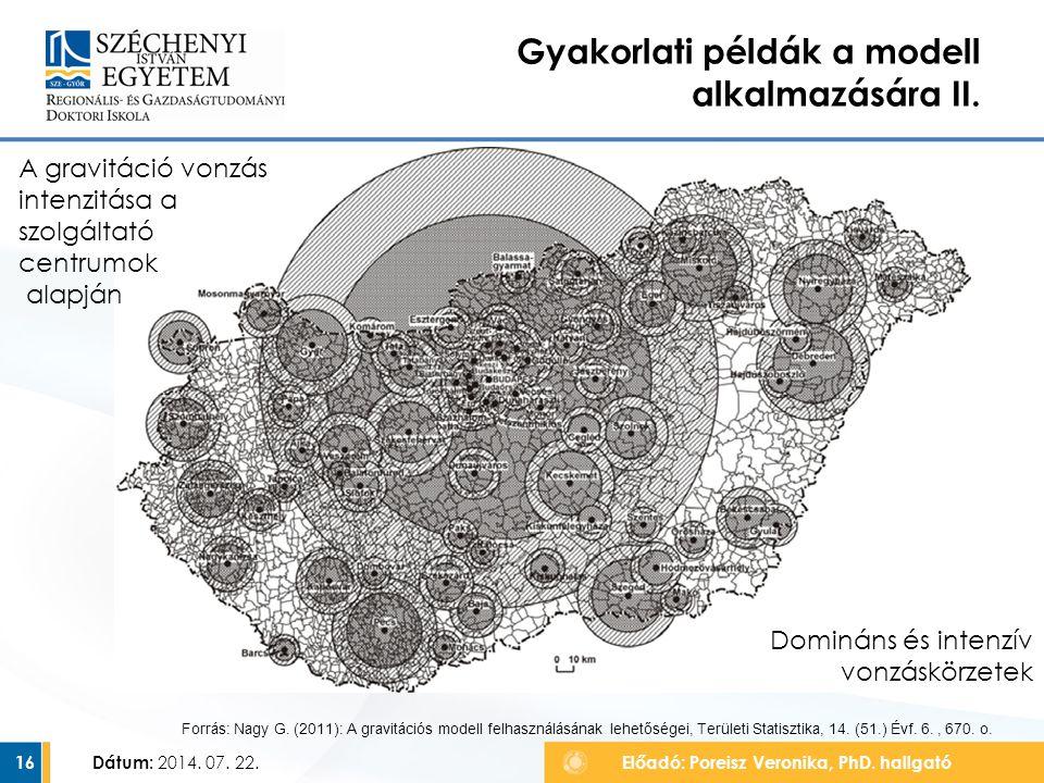 Gyakorlati példák a modell alkalmazására II. Dátum: 2014. 07. 22.Előadó: Poreisz Veronika, PhD. hallgató16 Forrás: Nagy G. (2011): A gravitációs model