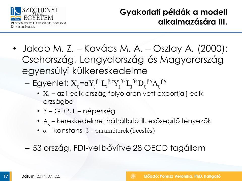 Jakab M. Z. – Kovács M. A. – Oszlay A. (2000): Csehország, Lengyelország és Magyarország egyensúlyi külkereskedelme – Egyenlet: X ij =αY j β1 L i β2 Y