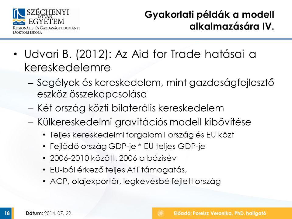 Udvari B. (2012): Az Aid for Trade hatásai a kereskedelemre – Segélyek és kereskedelem, mint gazdaságfejlesztő eszköz összekapcsolása – Két ország köz