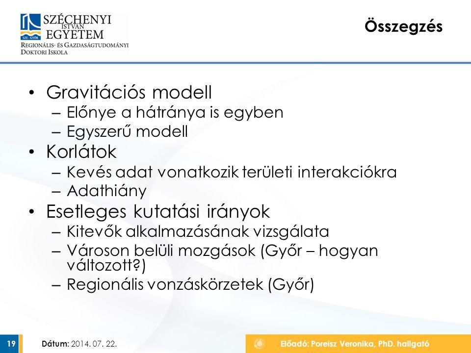 Összegzés Gravitációs modell – Előnye a hátránya is egyben – Egyszerű modell Korlátok – Kevés adat vonatkozik területi interakciókra – Adathiány Esetl