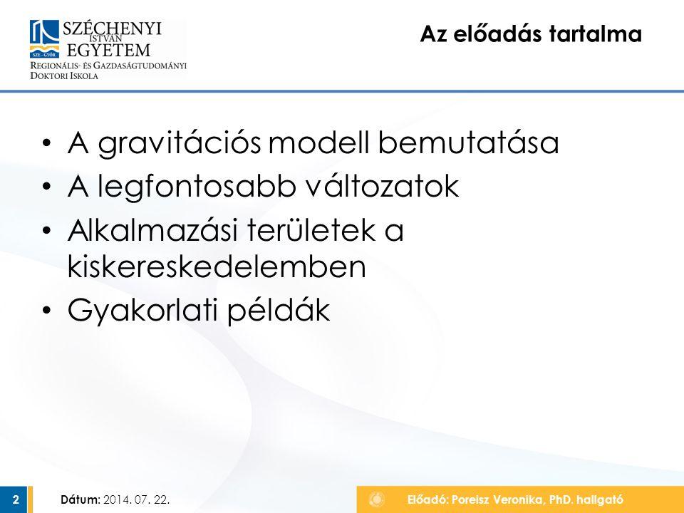 A gravitációs modell bemutatása A legfontosabb változatok Alkalmazási területek a kiskereskedelemben Gyakorlati példák Az előadás tartalma Dátum: 2014