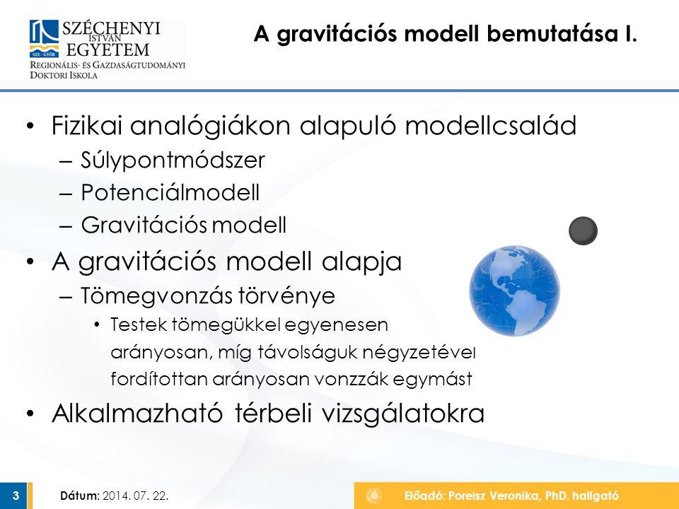 Fizikai analógiákon alapuló modellcsalád – Súlypontmódszer – Potenciálmodell – Gravitációs modell A gravitációs modell alapja – Tömegvonzás törvénye T