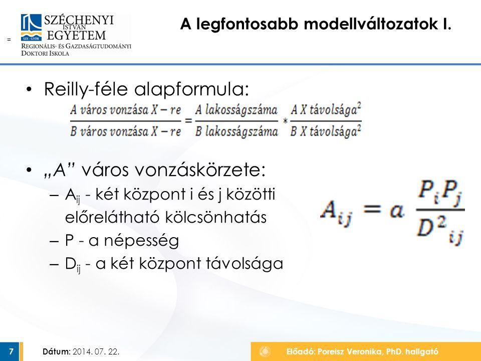 """A legfontosabb modellváltozatok I. Dátum: 2014. 07. 22.Előadó: Poreisz Veronika, PhD. hallgató7 = Reilly-féle alapformula: """"A"""" város vonzáskörzete: –"""