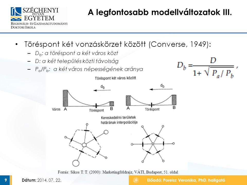 Töréspont két vonzáskörzet között (Converse, 1949): – D b : a töréspont a két város közt – D: a két település közti távolság – P a /P b : a két város