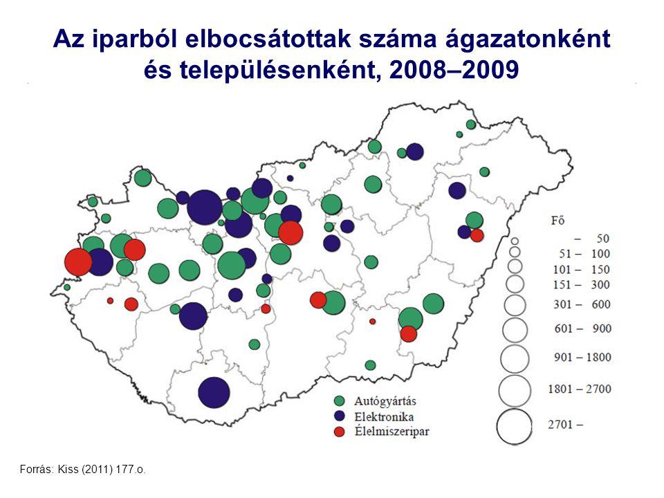 12 Az iparból elbocsátottak száma ágazatonként és településenként, 2008–2009 Forrás: Kiss (2011) 177.o.