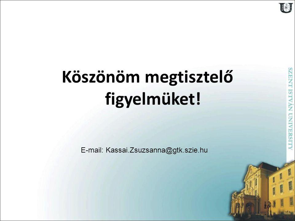 20 Köszönöm megtisztelő figyelmüket! E-mail: Kassai.Zsuzsanna@gtk.szie.hu