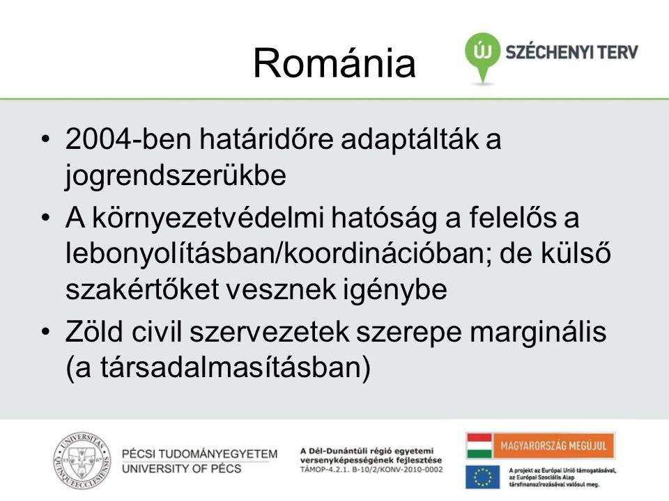 Románia 2004-ben határidőre adaptálták a jogrendszerükbe A környezetvédelmi hatóság a felelős a lebonyolításban/koordinációban; de külső szakértőket vesznek igénybe Zöld civil szervezetek szerepe marginális (a társadalmasításban)