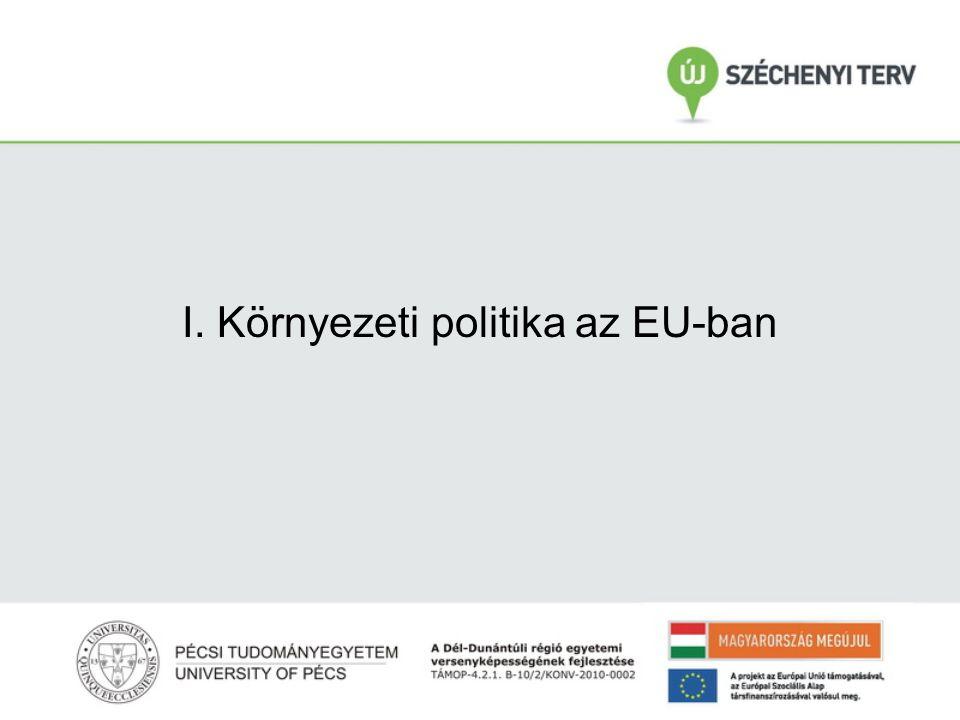 SKV és környezeti politika dióhéjban Környezeti politika fejlődése az EU-ban  1.Környezeti világmozgalmak; 2.Intenzifikáció, termelési volumen növekedése növekvő környezeti ártalmakat okozott 3.Újraelosztási rendszer egyre nagyobb volumenű beruházásokat eredményezett, aminek a környezeti hatásaival számolni kellett Válasz: -EU Környezetvédelmi Programsorozata 1973-tól (7.