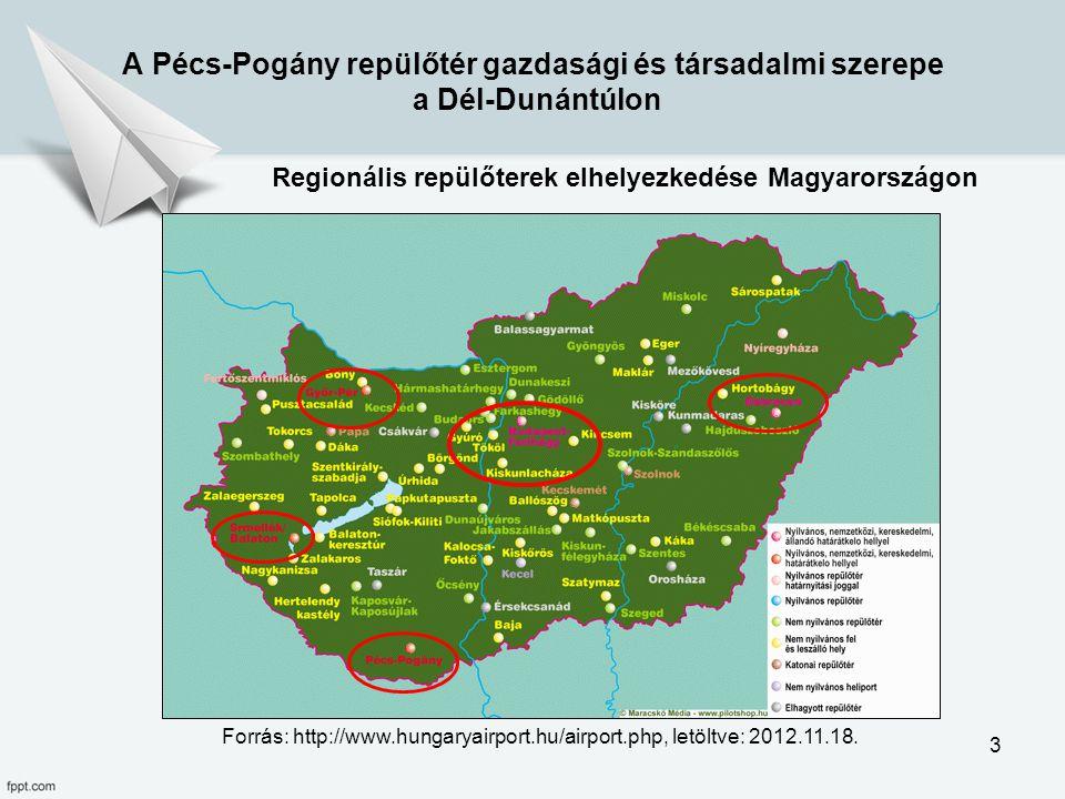 A Pécs-Pogány repülőtér gazdasági és társadalmi szerepe a Dél-Dunántúlon Regionális repülőterek elhelyezkedése Magyarországon Forrás: http://www.hunga