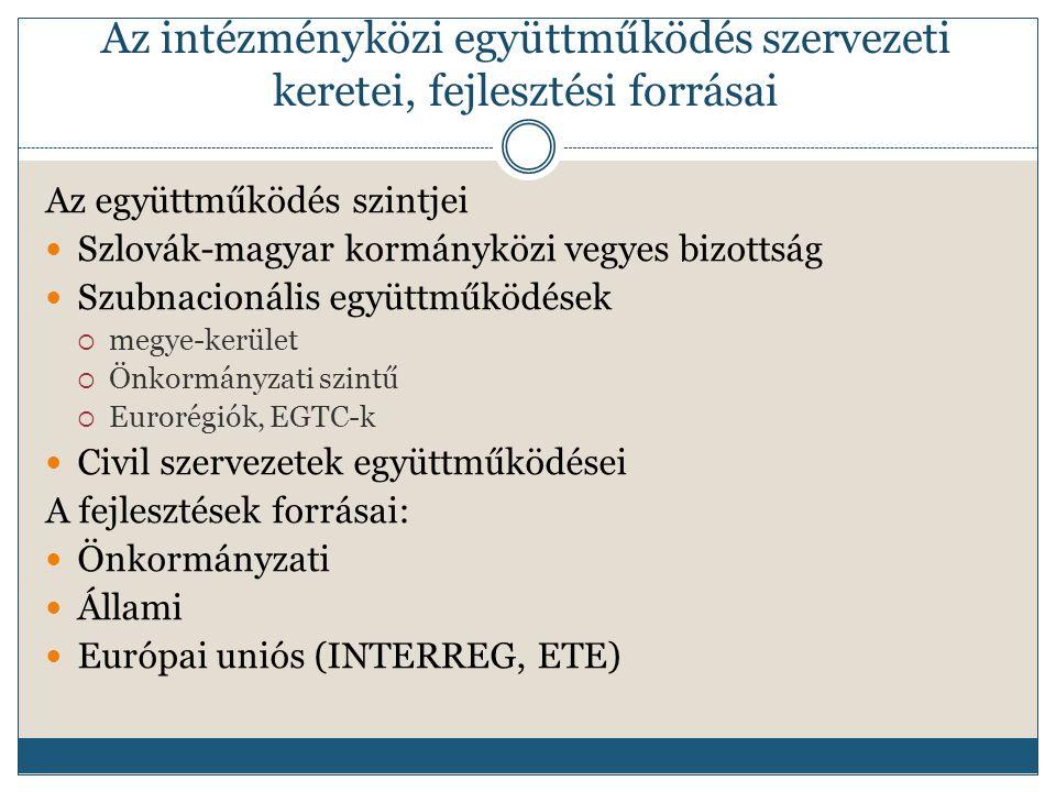 Az intézményközi együttműködés szervezeti keretei, fejlesztési forrásai Az együttműködés szintjei Szlovák-magyar kormányközi vegyes bizottság Szubnacionális együttműködések  megye-kerület  Önkormányzati szintű  Eurorégiók, EGTC-k Civil szervezetek együttműködései A fejlesztések forrásai: Önkormányzati Állami Európai uniós (INTERREG, ETE)