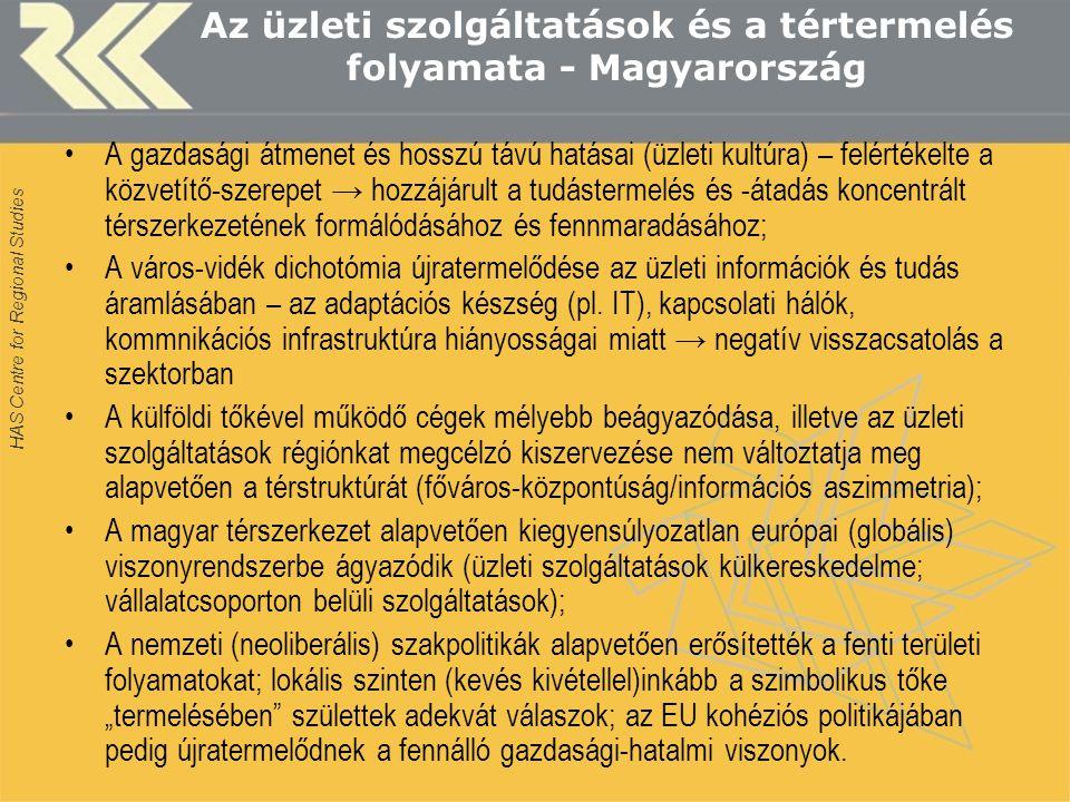 HAS Centre for Regional Studies Az üzleti szolgáltatások és a tértermelés folyamata - Magyarország A gazdasági átmenet és hosszú távú hatásai (üzleti kultúra) – felértékelte a közvetítő-szerepet → hozzájárult a tudástermelés és -átadás koncentrált térszerkezetének formálódásához és fennmaradásához; A város-vidék dichotómia újratermelődése az üzleti információk és tudás áramlásában – az adaptációs készség (pl.