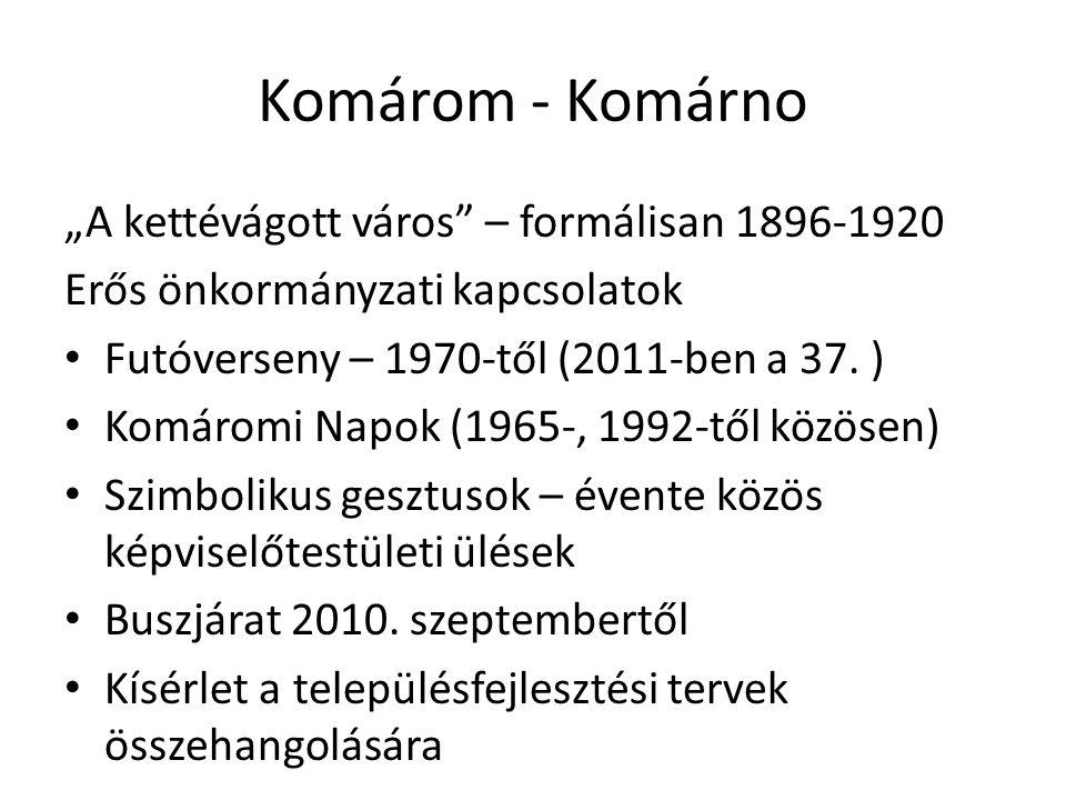 """Komárom - Komárno """"A kettévágott város – formálisan 1896-1920 Erős önkormányzati kapcsolatok Futóverseny – 1970-től (2011-ben a 37."""