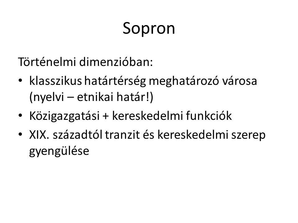 Sopron Történelmi dimenzióban: klasszikus határtérség meghatározó városa (nyelvi – etnikai határ!) Közigazgatási + kereskedelmi funkciók XIX.