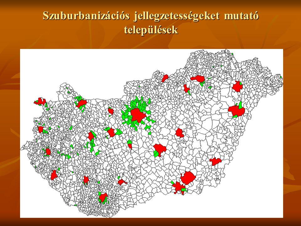 12 Szuburbanizációs jellegzetességeket mutató települések
