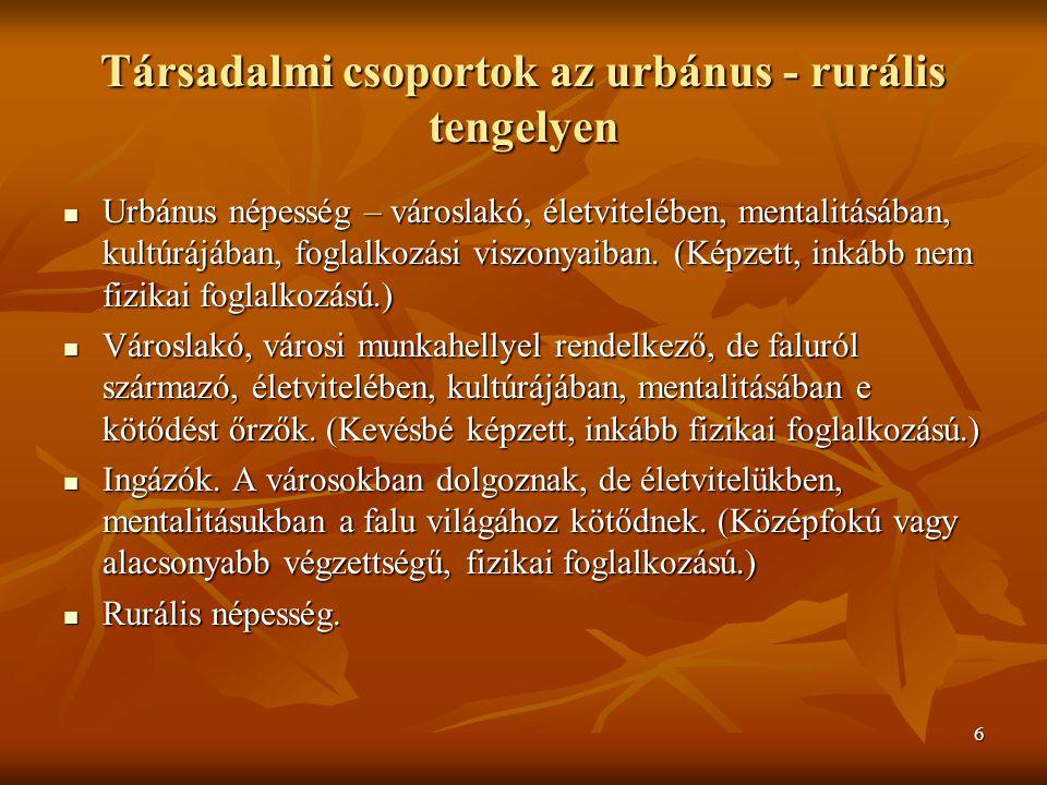 6 Társadalmi csoportok az urbánus - rurális tengelyen Urbánus népesség – városlakó, életvitelében, mentalitásában, kultúrájában, foglalkozási viszonyaiban.