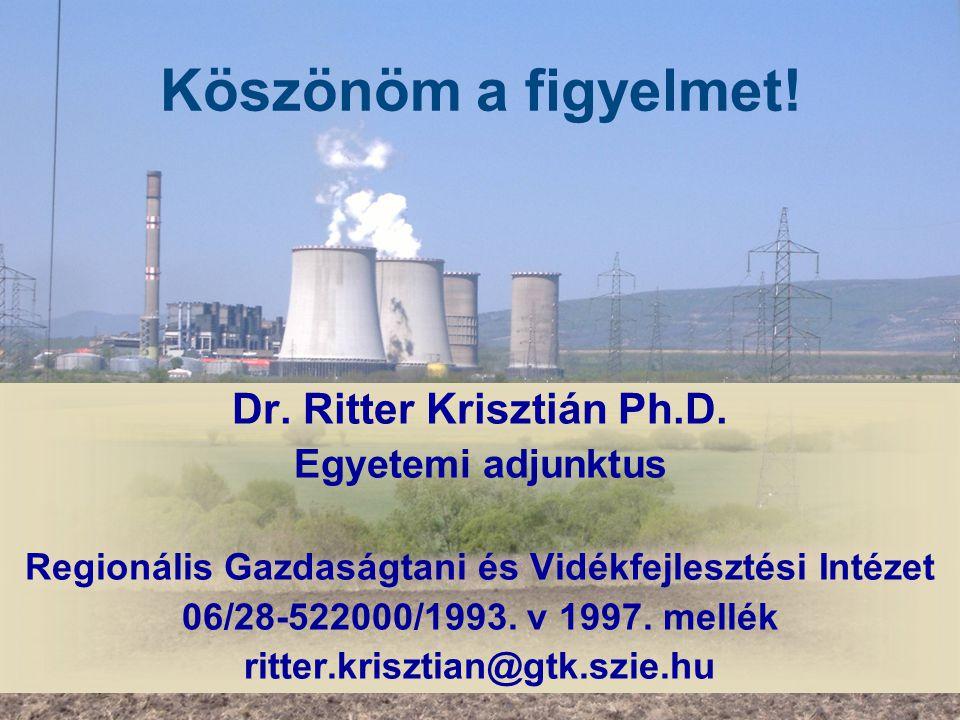 Köszönöm a figyelmet! Dr. Ritter Krisztián Ph.D. Egyetemi adjunktus Regionális Gazdaságtani és Vidékfejlesztési Intézet 06/28-522000/1993. v 1997. mel