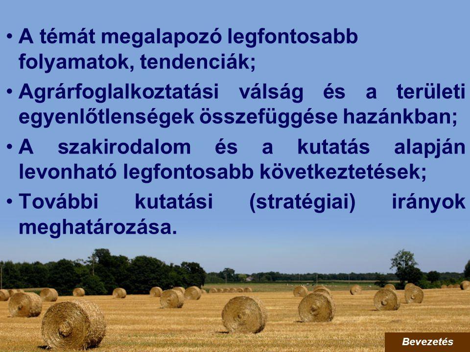 A témát megalapozó legfontosabb folyamatok, tendenciák; Agrárfoglalkoztatási válság és a területi egyenlőtlenségek összefüggése hazánkban; A szakiroda
