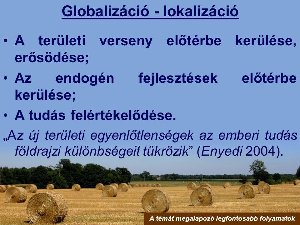 """Globalizáció - lokalizáció A területi verseny előtérbe kerülése, erősödése; Az endogén fejlesztések előtérbe kerülése; A tudás felértékelődése. """"Az új"""