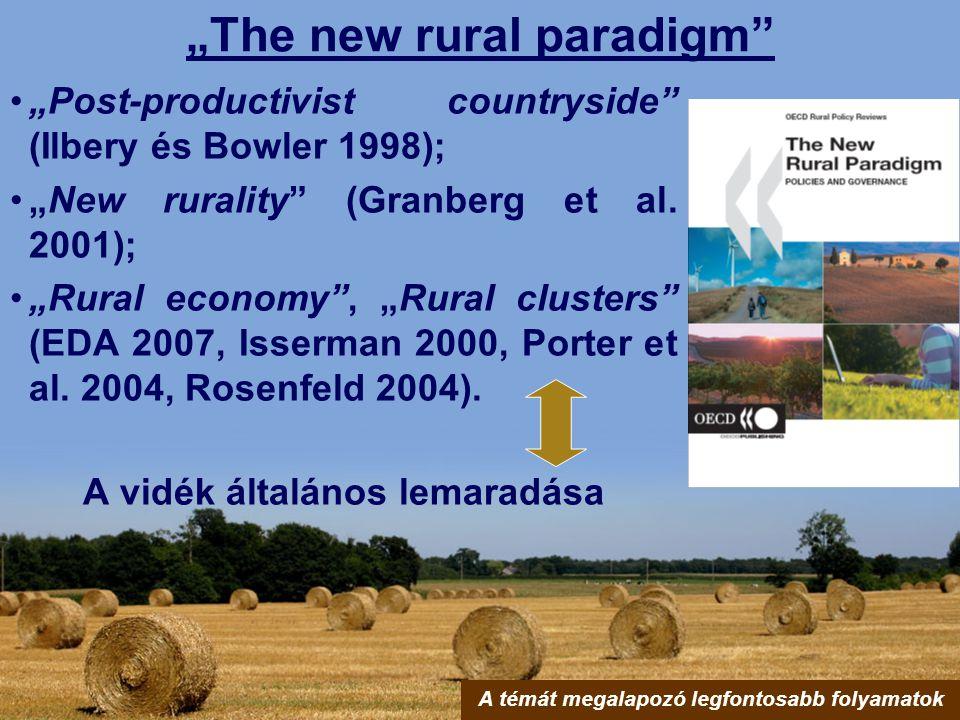 """The new rural paradigm"" ""Post-productivist countryside"" (Ilbery és Bowler 1998); ""New rurality"" (Granberg et al. 2001); ""Rural economy"", ""Rural clust"