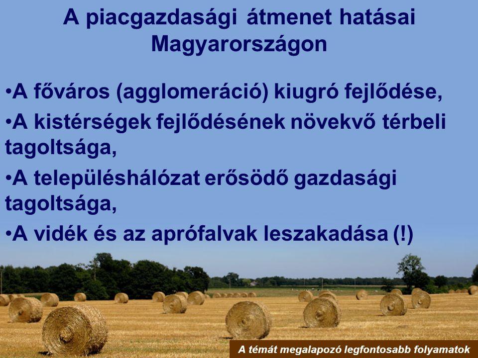 A piacgazdasági átmenet hatásai Magyarországon A főváros (agglomeráció) kiugró fejlődése, A kistérségek fejlődésének növekvő térbeli tagoltsága, A tel