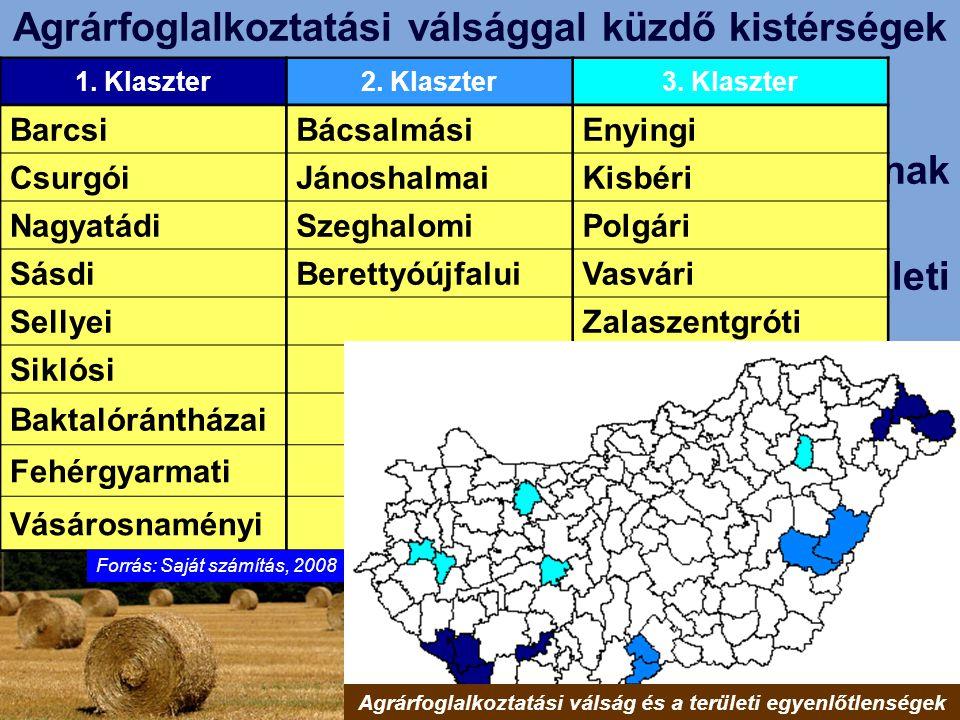 A mezőgazdasági foglalkozásúak arányának változása Magyarországon (1990-2001); A mezőgazdasági munkanélküliség területi eloszlása (1990-2003); A tartó