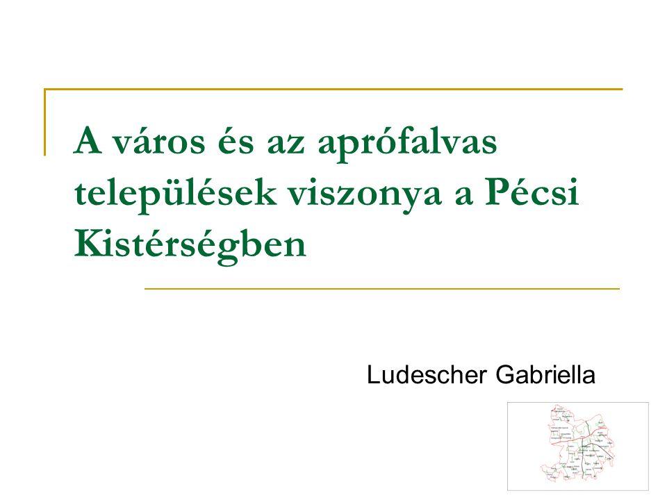 A Pécsi Kistérségben 182.665 fő 39 településen él 22 település 500 fő alatti 7 település 200 fő alatti a Kistérség lakosságnak 85%-él Pécsett