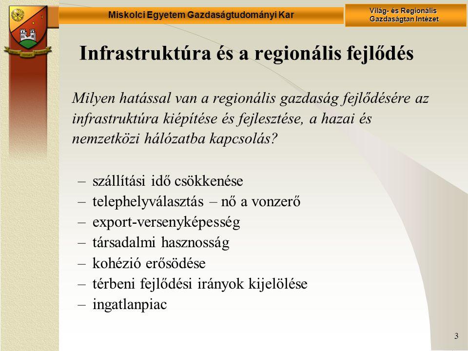 Miskolci Egyetem Gazdaságtudományi Kar Világ- és Regionális Gazdaságtan Intézet 3 Infrastruktúra és a regionális fejlődés Milyen hatással van a regionális gazdaság fejlődésére az infrastruktúra kiépítése és fejlesztése, a hazai és nemzetközi hálózatba kapcsolás.