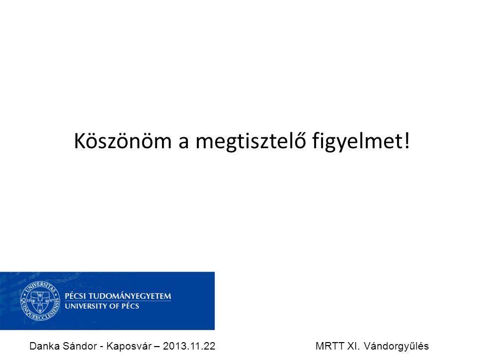 Köszönöm a megtisztelő figyelmet! Danka Sándor - Kaposvár – 2013.11.22MRTT XI. Vándorgyűlés