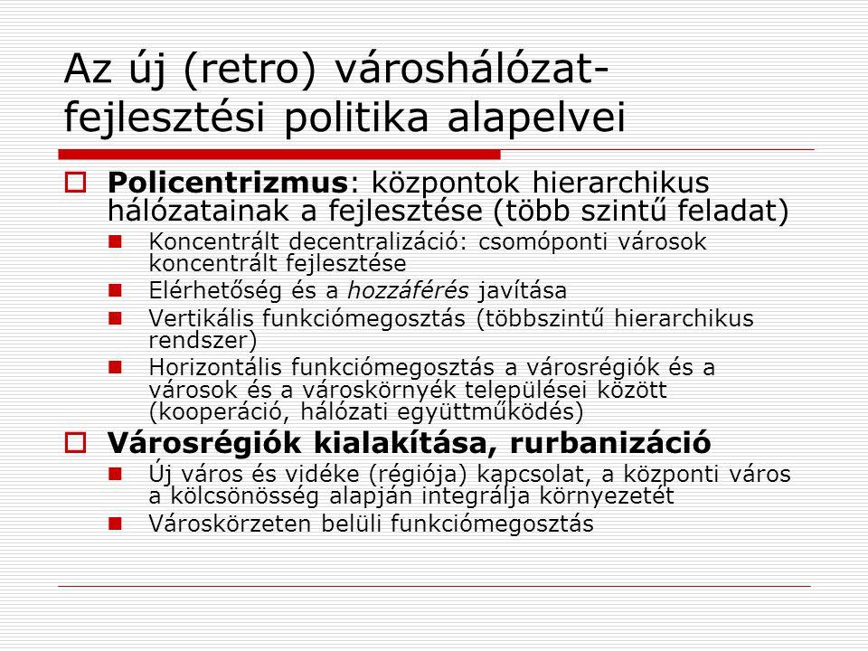 Az új (retro) városhálózat- fejlesztési politika alapelvei  Policentrizmus: központok hierarchikus hálózatainak a fejlesztése (több szintű feladat) K