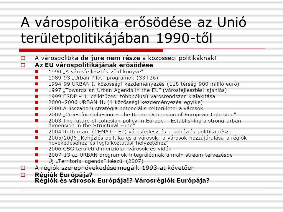 A várospolitika erősödése az Unió területpolitikájában 1990-től  A várospolitika de jure nem része a közösségi politikáknak!  Az EU várospolitikáján