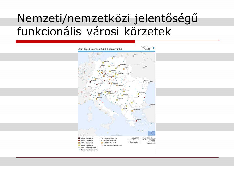 Nemzeti/nemzetközi jelentőségű funkcionális városi körzetek