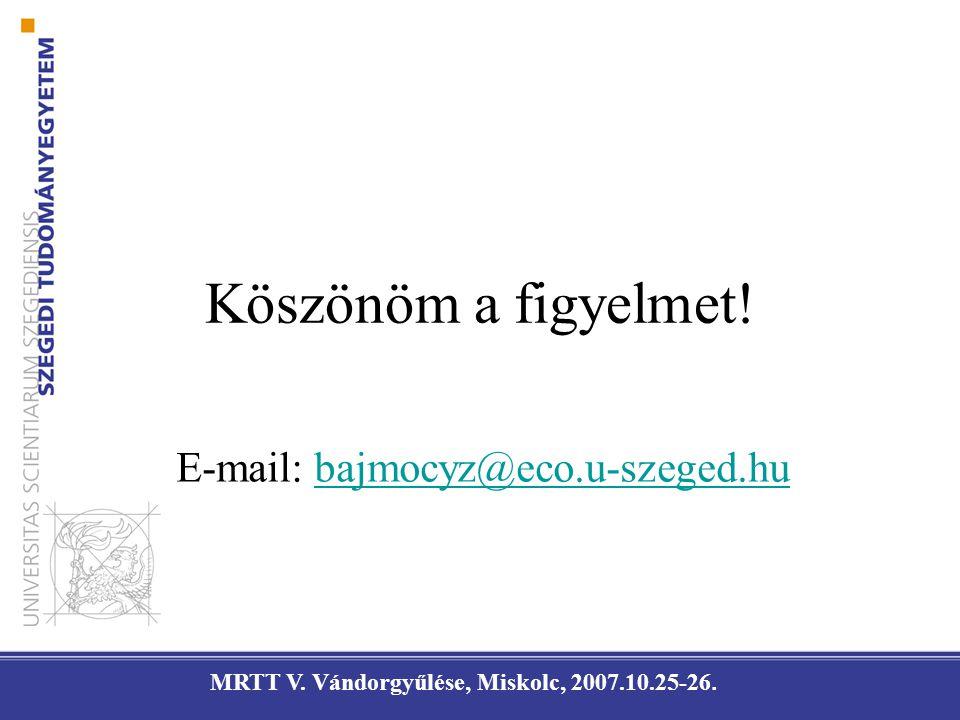 Köszönöm a figyelmet! E-mail: bajmocyz@eco.u-szeged.hubajmocyz@eco.u-szeged.hu MRTT V. Vándorgyűlése, Miskolc, 2007.10.25-26.