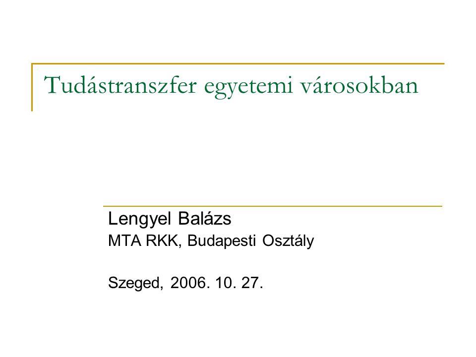 Tudástranszfer egyetemi városokban Lengyel Balázs MTA RKK, Budapesti Osztály Szeged, 2006. 10. 27.