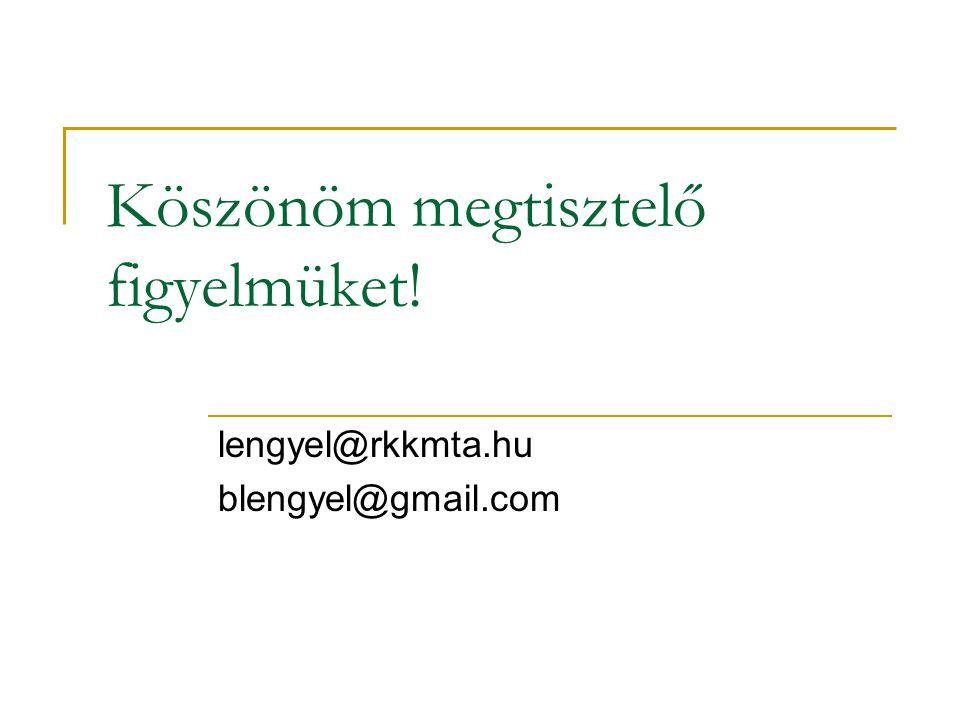 Köszönöm megtisztelő figyelmüket! lengyel@rkkmta.hu blengyel@gmail.com