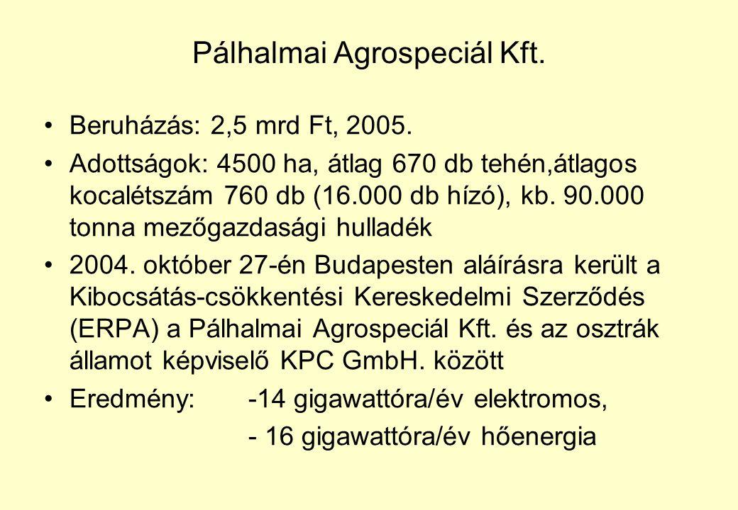 Pálhalmai Agrospeciál Kft.Beruházás: 2,5 mrd Ft, 2005.