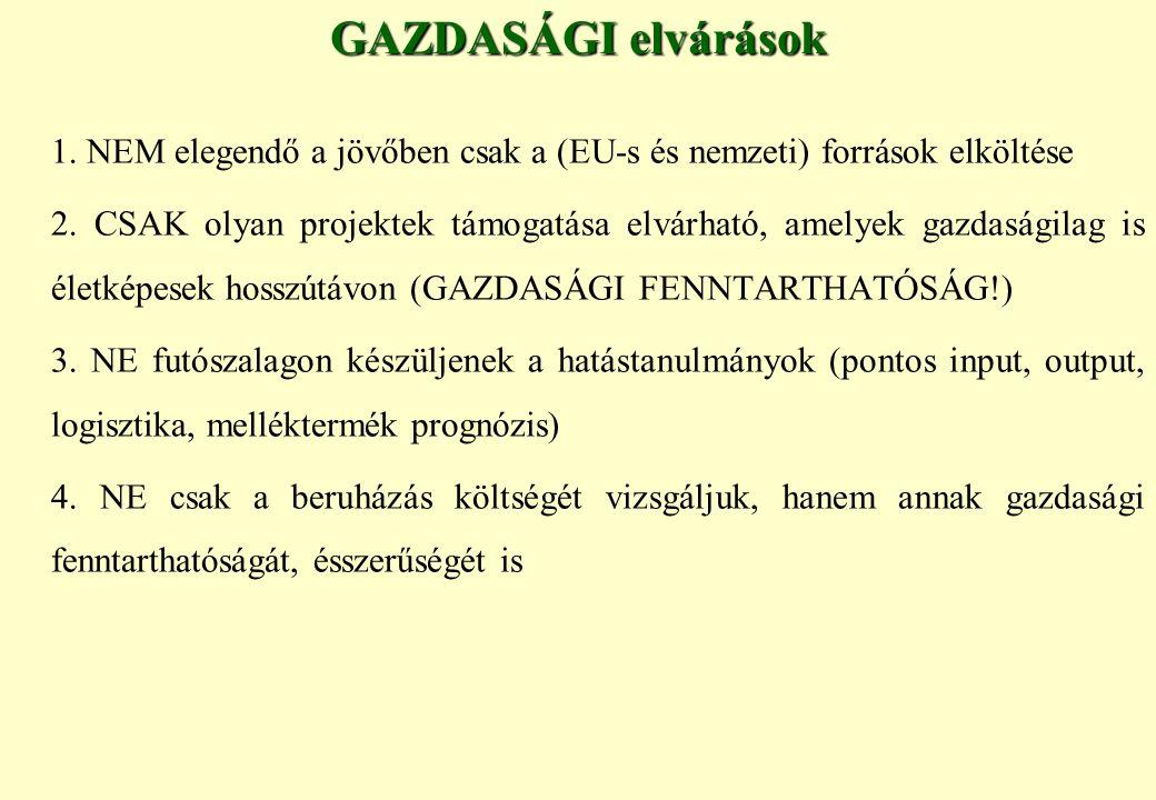 GAZDASÁGI elvárások 1.NEM elegendő a jövőben csak a (EU-s és nemzeti) források elköltése 2.