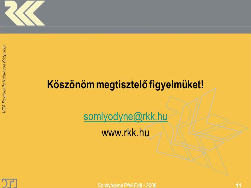 MTA Regionális Kutatások Központja Somlyódyné Pfeil Edit 2008 11 Köszönöm megtisztelő figyelmüket! somlyodyne@rkk.hu www.rkk.hu