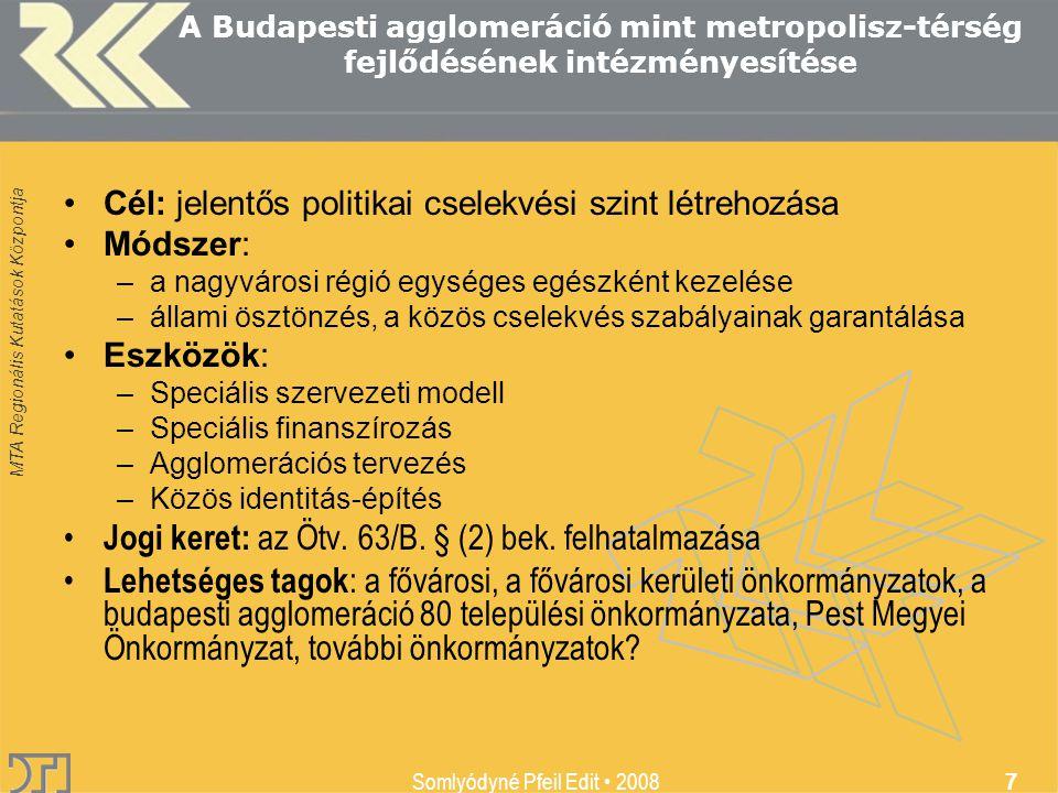 MTA Regionális Kutatások Központja Somlyódyné Pfeil Edit 2008 7 A Budapesti agglomeráció mint metropolisz-térség fejlődésének intézményesítése Cél: jelentős politikai cselekvési szint létrehozása Módszer: –a nagyvárosi régió egységes egészként kezelése –állami ösztönzés, a közös cselekvés szabályainak garantálása Eszközök: –Speciális szervezeti modell –Speciális finanszírozás –Agglomerációs tervezés –Közös identitás-építés Jogi keret: az Ötv.