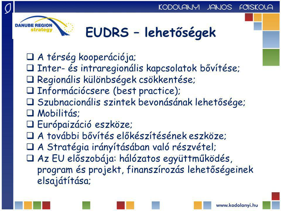 EUDRS – lehetőségek  A térség kooperációja;  Inter- és intraregionális kapcsolatok bővítése;  Regionális különbségek csökkentése;  Információcsere (best practice);  Szubnacionális szintek bevonásának lehetősége;  Mobilitás;  Európaizáció eszköze;  A további bővítés előkészítésének eszköze;  A Stratégia irányításában való részvétel;  Az EU előszobája: hálózatos együttműködés, program és projekt, finanszírozás lehetőségeinek elsajátítása;