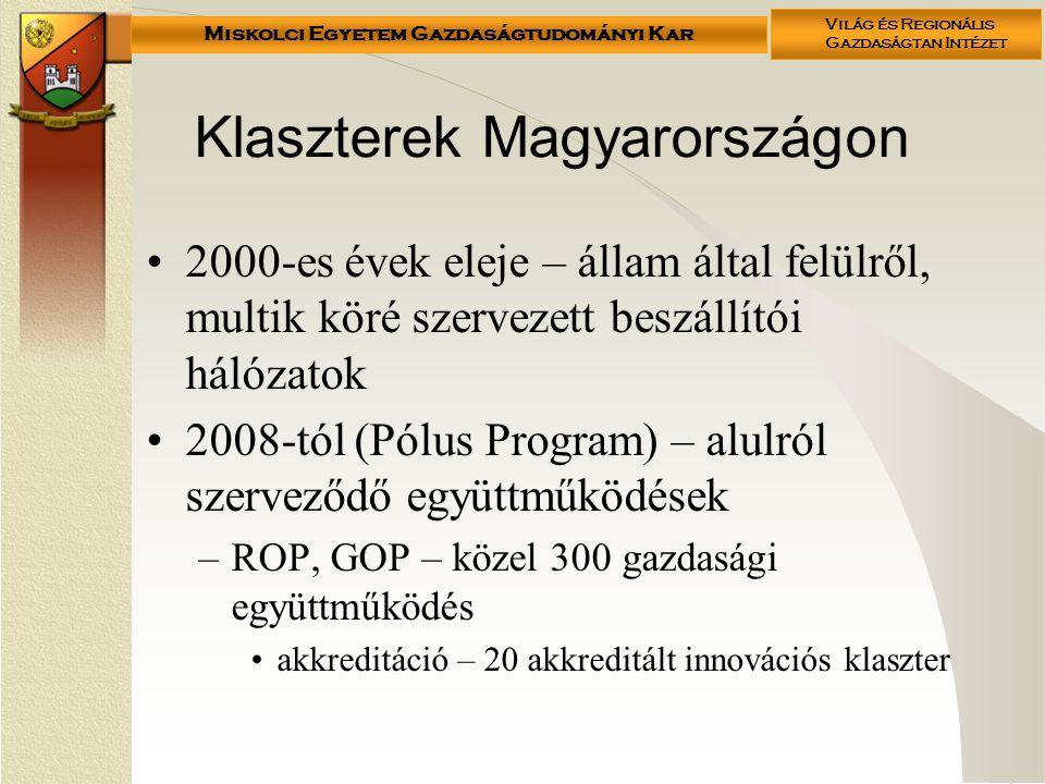 Miskolci Egyetem Gazdaságtudományi Kar Világ és Regionális Gazdaságtan Intézet Klaszterek Magyarországon 2000-es évek eleje – állam által felülről, multik köré szervezett beszállítói hálózatok 2008-tól (Pólus Program) – alulról szerveződő együttműködések –ROP, GOP – közel 300 gazdasági együttműködés akkreditáció – 20 akkreditált innovációs klaszter
