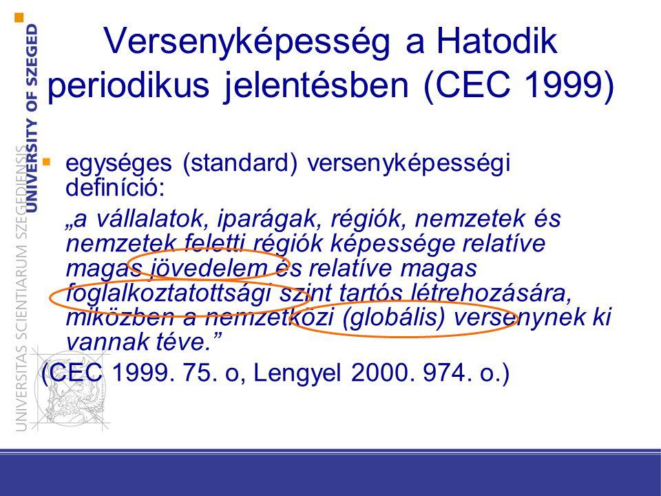 """ egységes (standard) versenyképességi definíció: """"a vállalatok, iparágak, régiók, nemzetek és nemzetek feletti régiók képessége relatíve magas jövedelem és relatíve magas foglalkoztatottsági szint tartós létrehozására, miközben a nemzetközi (globális) versenynek ki vannak téve. (CEC 1999."""