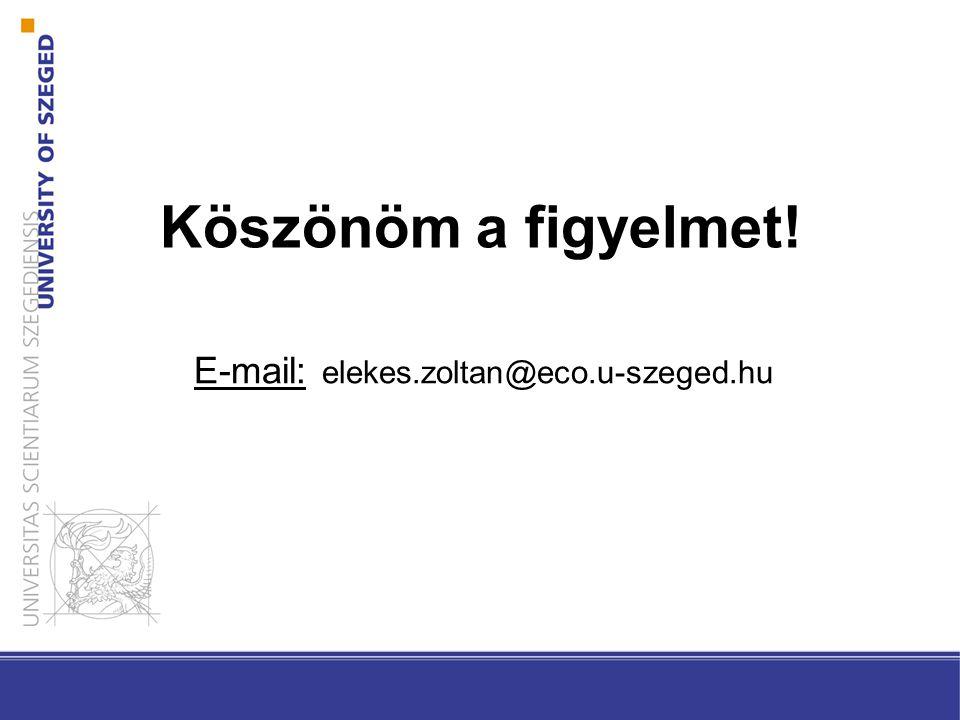 Köszönöm a figyelmet! E-mail: elekes.zoltan@eco.u-szeged.hu