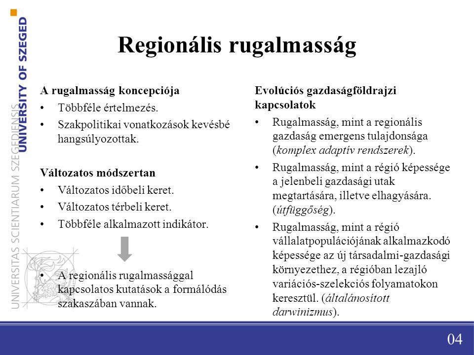 Regionális rugalmasság A rugalmasság koncepciója Többféle értelmezés.