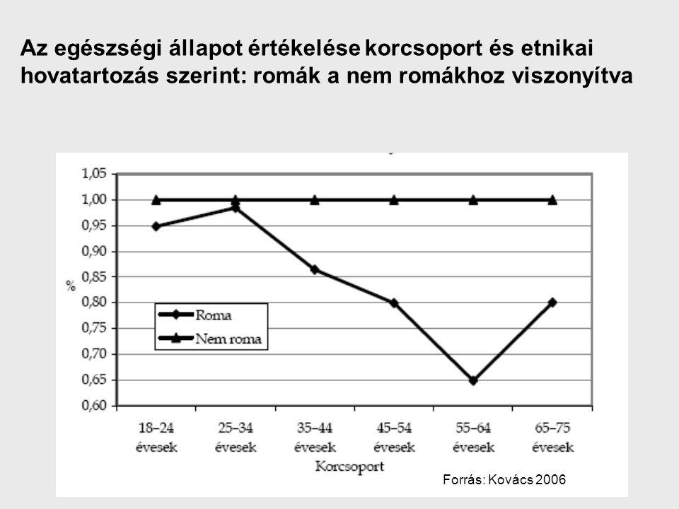 Az egészségi állapot értékelése korcsoport és etnikai hovatartozás szerint: romák a nem romákhoz viszonyítva Forrás: Kovács 2006