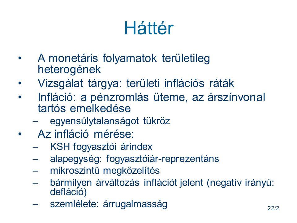 22/2 Háttér A monetáris folyamatok területileg heterogének Vizsgálat tárgya: területi inflációs ráták Infláció: a pénzromlás üteme, az árszínvonal tartós emelkedése –egyensúlytalanságot tükröz Az infláció mérése: –KSH fogyasztói árindex –alapegység: fogyasztóiár-reprezentáns –mikroszintű megközelítés –bármilyen árváltozás inflációt jelent (negatív irányú: defláció) –szemlélete: árrugalmasság